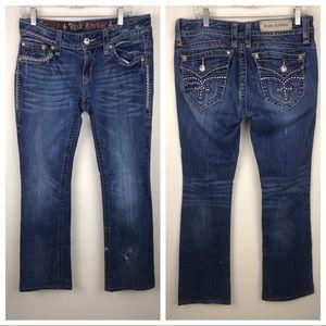 ROCK REVIVAL Jen Boot Jeans Fleur de Lis Flaps, 31